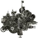 Isolerad Steampunk industriell tillverkningsmaskin Arkivbilder