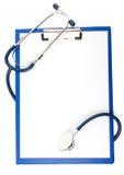 isolerad stetoskopwhite för blank datalista Royaltyfri Fotografi