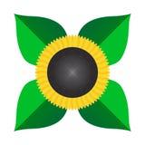 Isolerad stilfull plan färg för solrosvektor symbol stock illustrationer