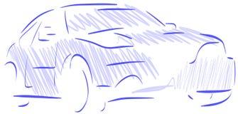 Isolerad stiliserad bil i blått och svart Royaltyfria Bilder