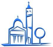 Isolerad stiliserad kyrka i blåa signaler stock illustrationer