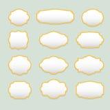 Isolerad stiliserad uppsättning för ramvektorlogo Tappning gränsar logotypsamlingen Fotografering för Bildbyråer
