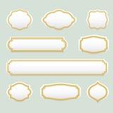 Isolerad stiliserad uppsättning för ramvektorlogo Tappning gränsar logotypsamlingen Arkivfoto