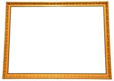 Isolerad stor guld- målningram Royaltyfria Bilder