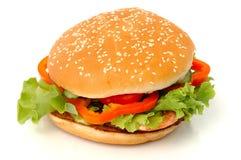 isolerad stor hamburgare Royaltyfri Fotografi