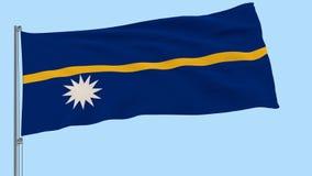 Isolerad stor torkduk av Nauru på en flaggstång som fladdrar i vinden på en genomskinlig bakgrund, 3d tolkning, PNG-format med Al