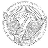 Isolerad svan som dekoreras i bohostil Royaltyfri Bild