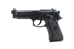 Isolerad svart handeldvapen royaltyfri foto
