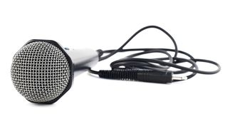 Isolerad svart mikrofon Arkivfoto