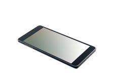 Isolerad svart modern smartphone Arkivbilder