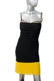Isolerad svart- och gulingklänning arkivbild