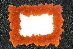 Isolerad svart och röd kaviar Top beskådar arkivfoto