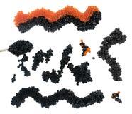 Isolerad svart och röd kaviar Top beskådar arkivfoton