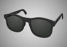 Isolerad svart realistisk solglasögon Arkivbild