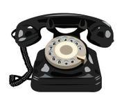Isolerad svart retro telefon vektor illustrationer