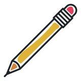 Isolerad symbol för blyertspennahjälpmedel kontor vektor illustrationer