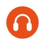 Isolerad symbol för hörlurar med mikrofon solid apparat stock illustrationer