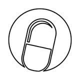 Isolerad symbol för kapsel drog Arkivfoto