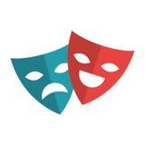 Isolerad symbol för teater maskering vektor illustrationer