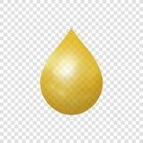 Isolerad symbol för vektor guld- droppe, realistisk illustration 3D vektor illustrationer