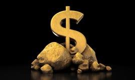 isolerad teckenwhite för dollar guld Arkivfoton