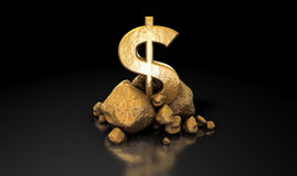 isolerad teckenwhite för dollar guld royaltyfri fotografi