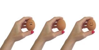 Isolerad tecknad filmuppsättning för hand ägg Fotografering för Bildbyråer