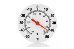 Isolerad termometer på vit Arkivbild