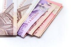 Isolerad thailändsk valuta i bakgrund och Arkivbild