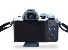 Isolerad tillbaka sida av den Digitala kameran med Wite bakgrund arkivbild