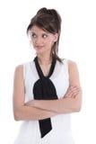 Isolerad tillfredsställd kvinnlig med korsade armar. royaltyfria bilder