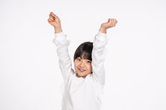 Isolerad tonårs- asiatisk fors för stående för flickabarnstudio - Royaltyfri Fotografi