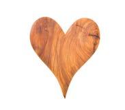 Isolerad trähjärta för valentin på vit bakgrund Arkivfoto