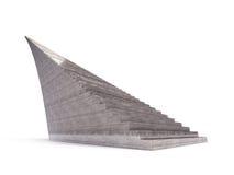Isolerad trappuppgång för oändlighetsbruntbetong på vit Arkivbilder