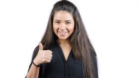 isolerad tum för bakgrund black upp Flicka isolerad vit bakgrund Kvinnligt modellera Arkivfoton