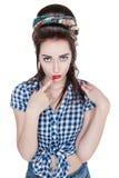 Isolerad ung härlig kvinna i retro utvikningsbildstil Arkivfoton