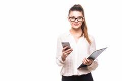 Isolerad ung talande telefon för affärskvinna fotografering för bildbyråer