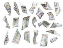 Isolerad uppsättning av att falla eller att sväva $100 räkningar varje Royaltyfria Bilder
