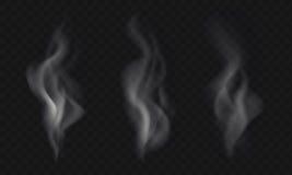 Isolerad uppsättning av tre vektorrökeffekter på genomskinlig backgr Arkivfoto
