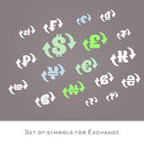 Isolerad uppsättning för vektor för tecken för valutautbyte internationella pengarsymboler Arkivbild