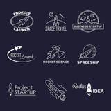 Isolerad uppsättning för logo för vektorraketdesign Arkivbild