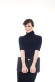 isolerad varvöverkant för affärskvinna lycklig holding Royaltyfria Foton