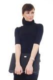 isolerad varvöverkant för affärskvinna lycklig holding Royaltyfria Bilder