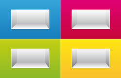 isolerad vektor för bokhylla 3d färgrik tom illus Arkivfoton