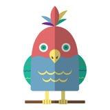 Isolerad vektorillustration för papegoja plan symbol Vektor Illustrationer