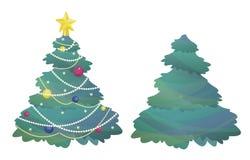 Isolerad vektorillustration med julträd royaltyfri illustrationer