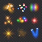 Isolerad vektorsamling av färgrika ljusa effekter på transpar royaltyfri illustrationer