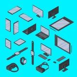 Isolerad vektoruppsättning av isometrisk grejteknologi Smart klocka, grafisk minnestavla, smartphone, VR-exponeringsglas och anna vektor illustrationer