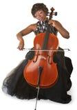 Isolerad violoncellspelare Royaltyfri Foto