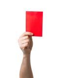 Isolerad visning för rött kort för fotboll Arkivbilder